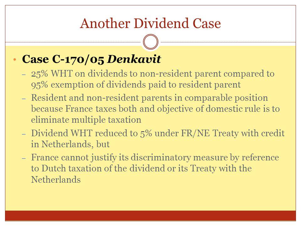 Another Dividend Case Case C-170/05 Denkavit