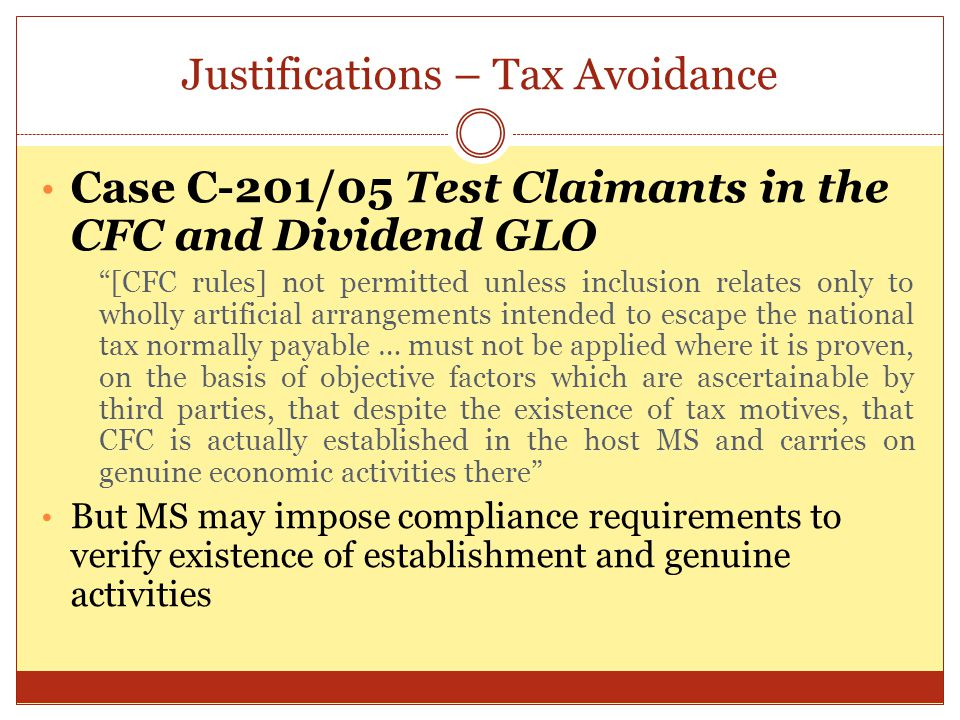 Justifications – Tax Avoidance
