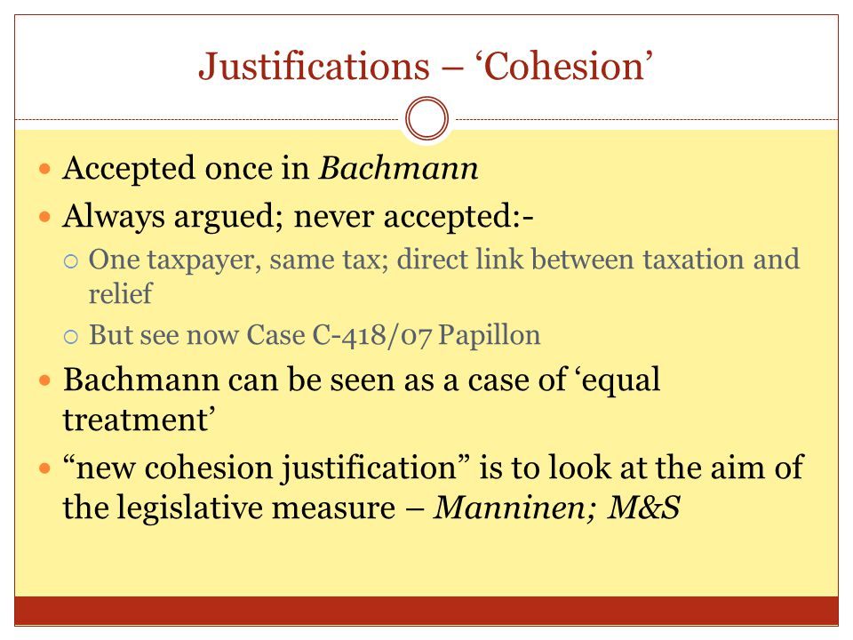 Justifications – 'Cohesion'