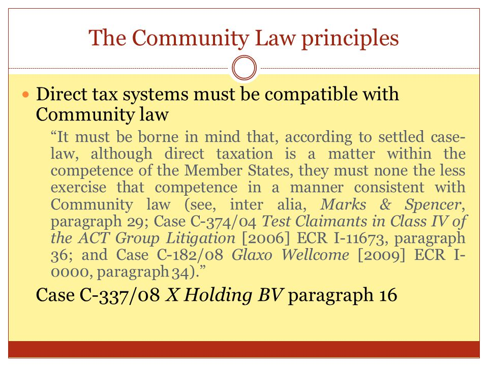 The Community Law principles