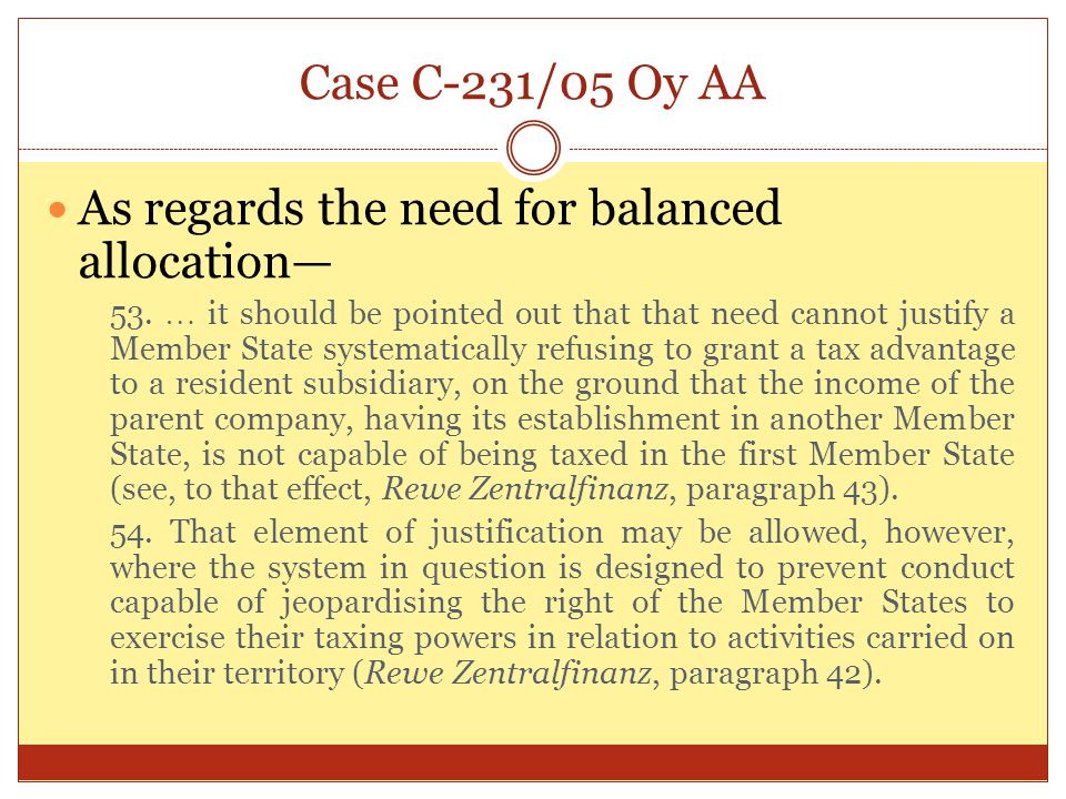 As regards the need for balanced allocation—
