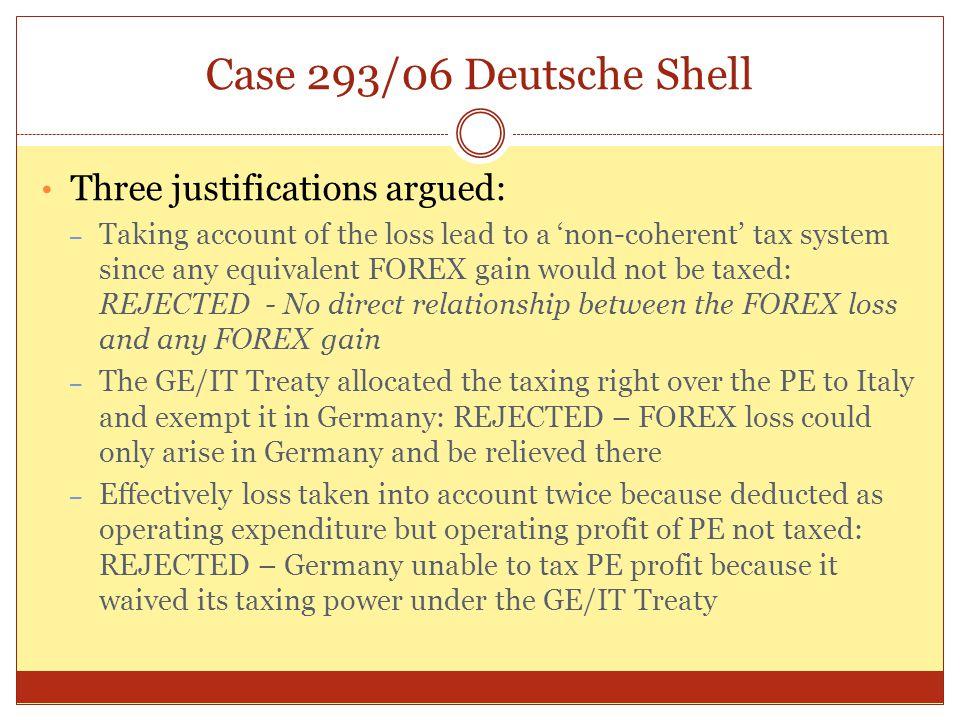 Case 293/06 Deutsche Shell Three justifications argued:
