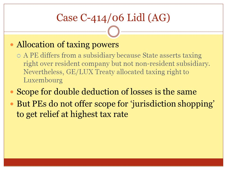 Case C-414/06 Lidl (AG) Allocation of taxing powers