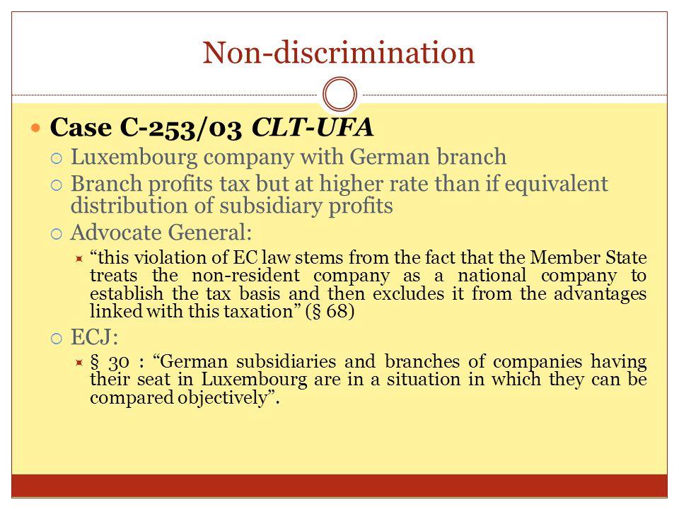Non-discrimination Case C-253/03 CLT-UFA
