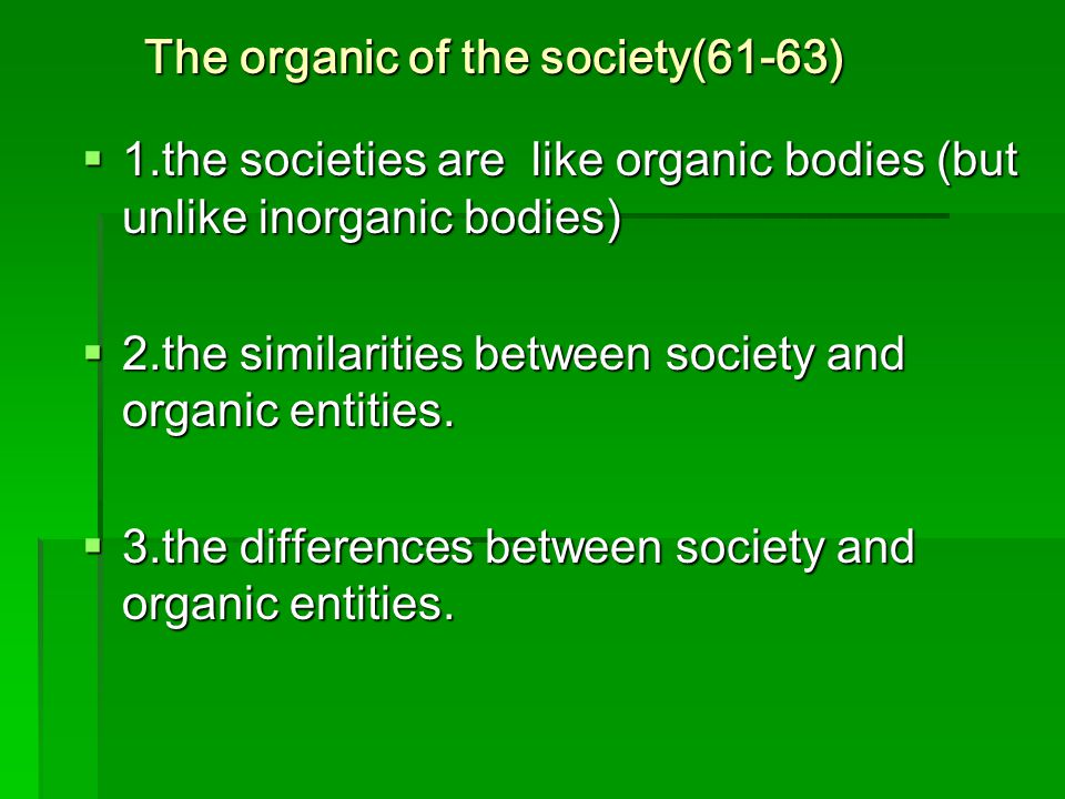 The organic of the society(61-63)