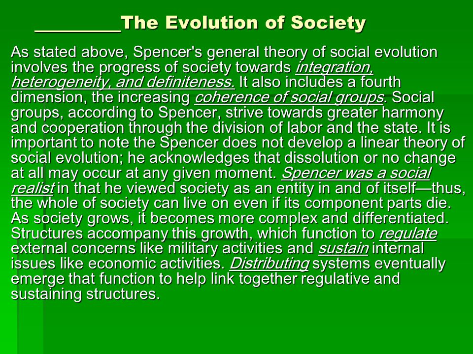 The Evolution of Society