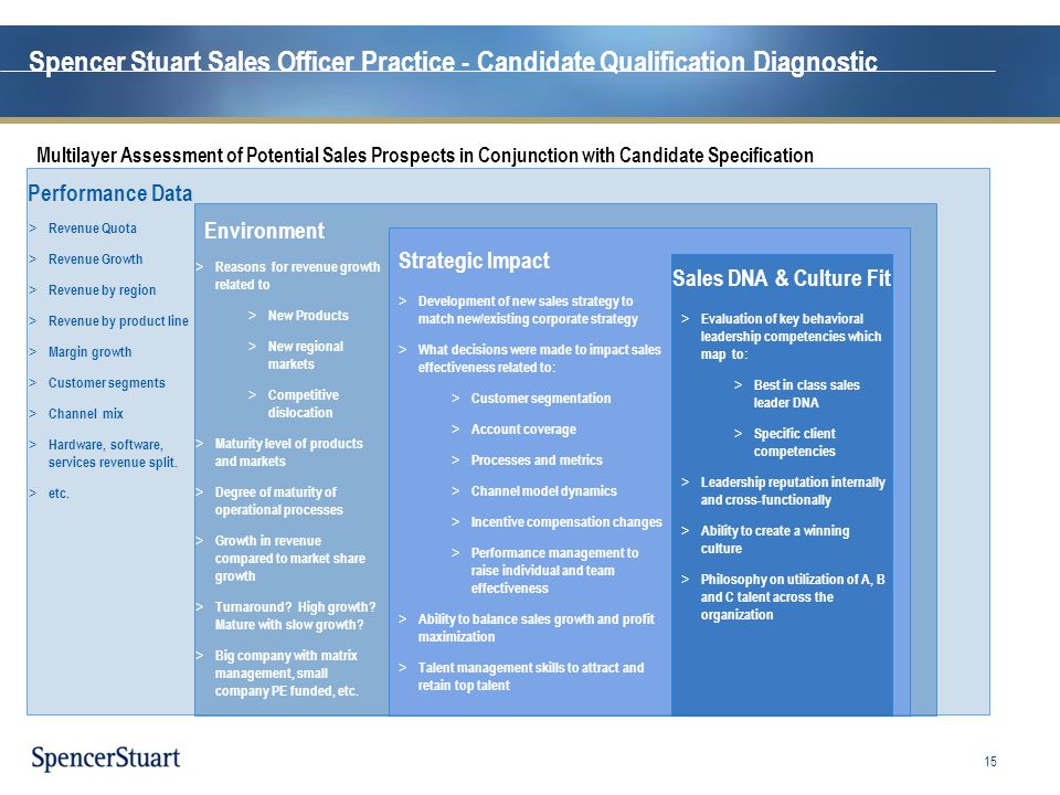 Spencer Stuart Sales Officer Practice - Candidate Qualification Diagnostic