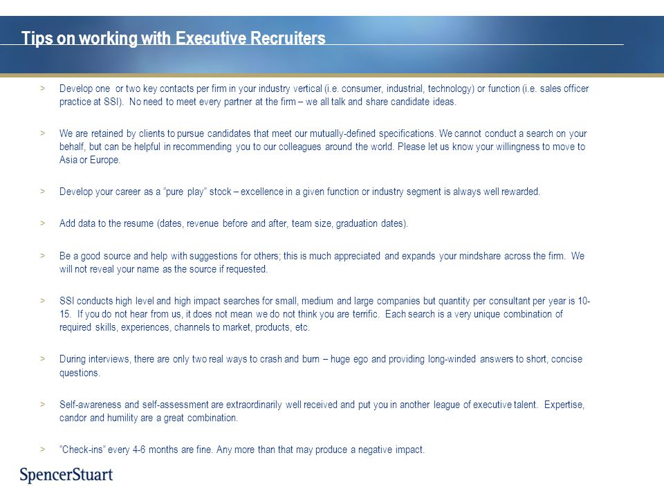 Tips on working with Executive Recruiters