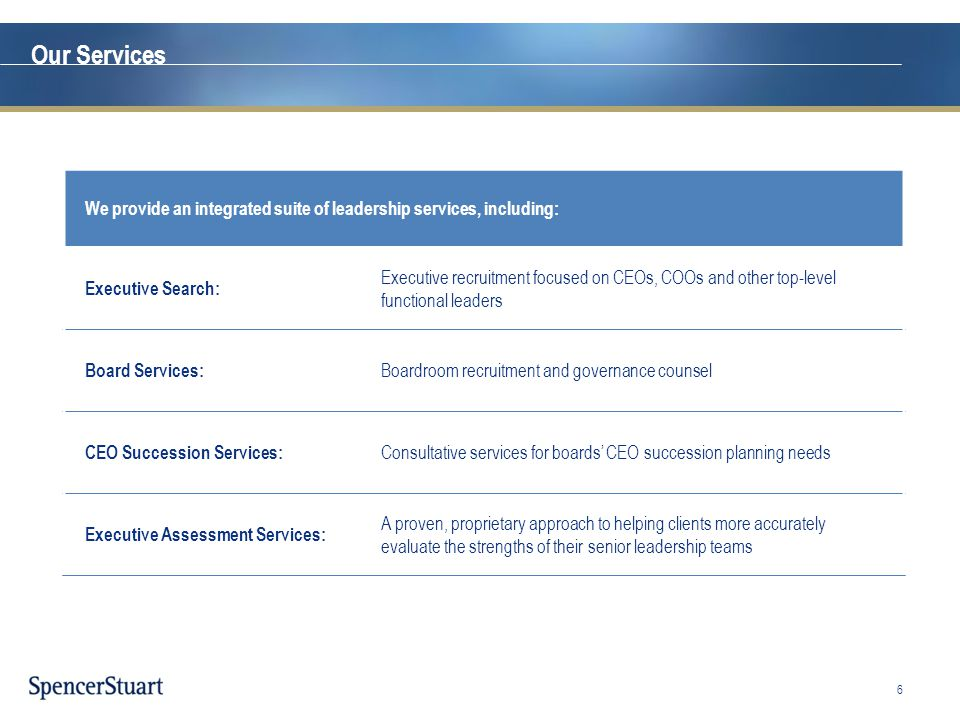 Our Services We provide an integrated suite of leadership services, including: Executive Search: