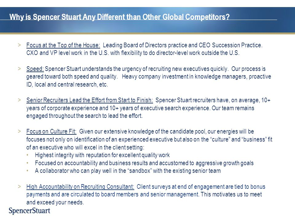 Why is Spencer Stuart Any Different than Other Global Competitors
