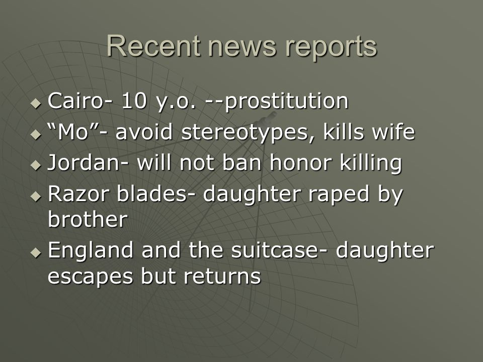 Recent news reports Cairo- 10 y.o. --prostitution