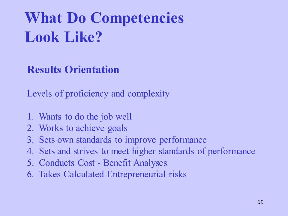What Do Competencies Look Like