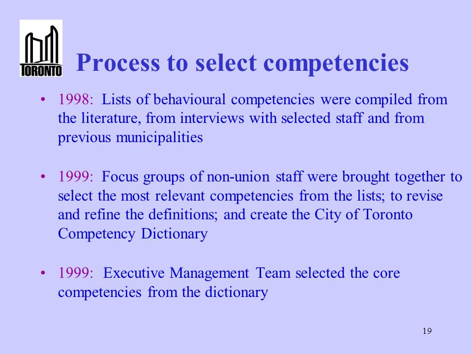 Process to select competencies