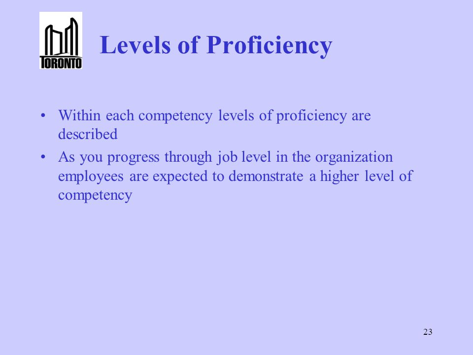 Levels of Proficiency Within each competency levels of proficiency are described.