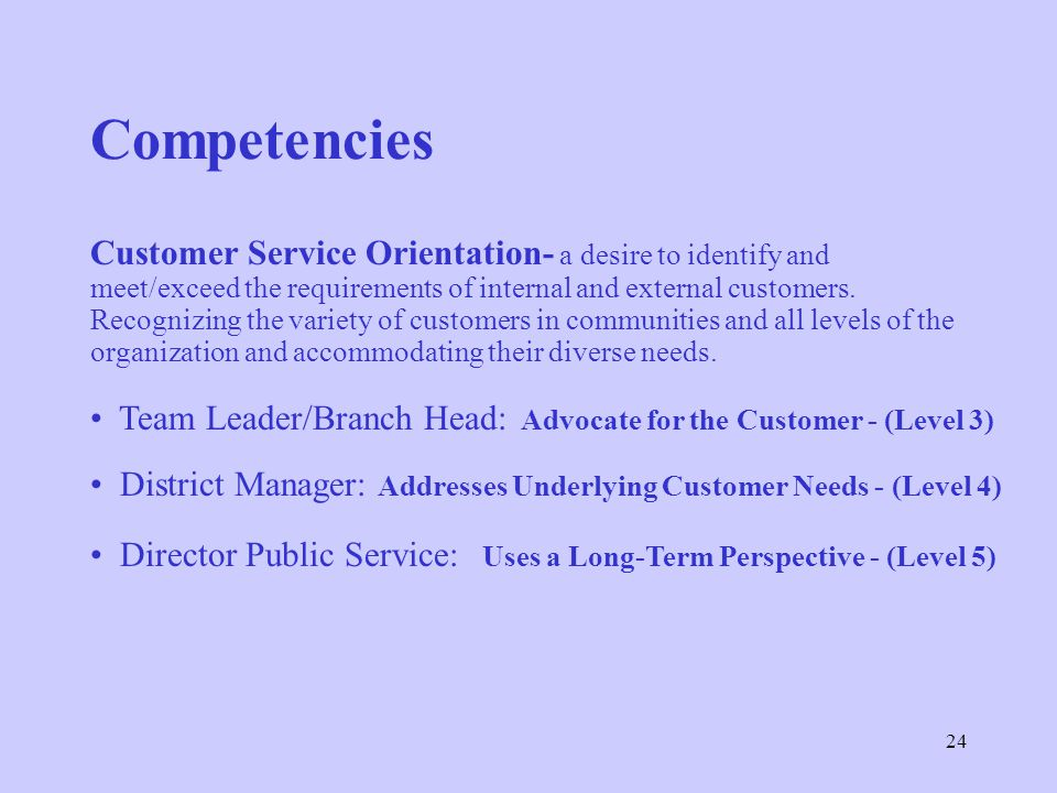 Competencies Customer Service Orientation- a desire to identify and