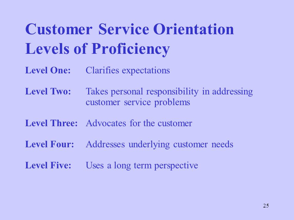 Customer Service Orientation Levels of Proficiency