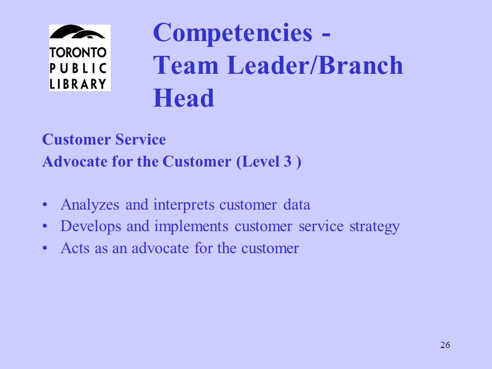 Competencies - Team Leader/Branch Head