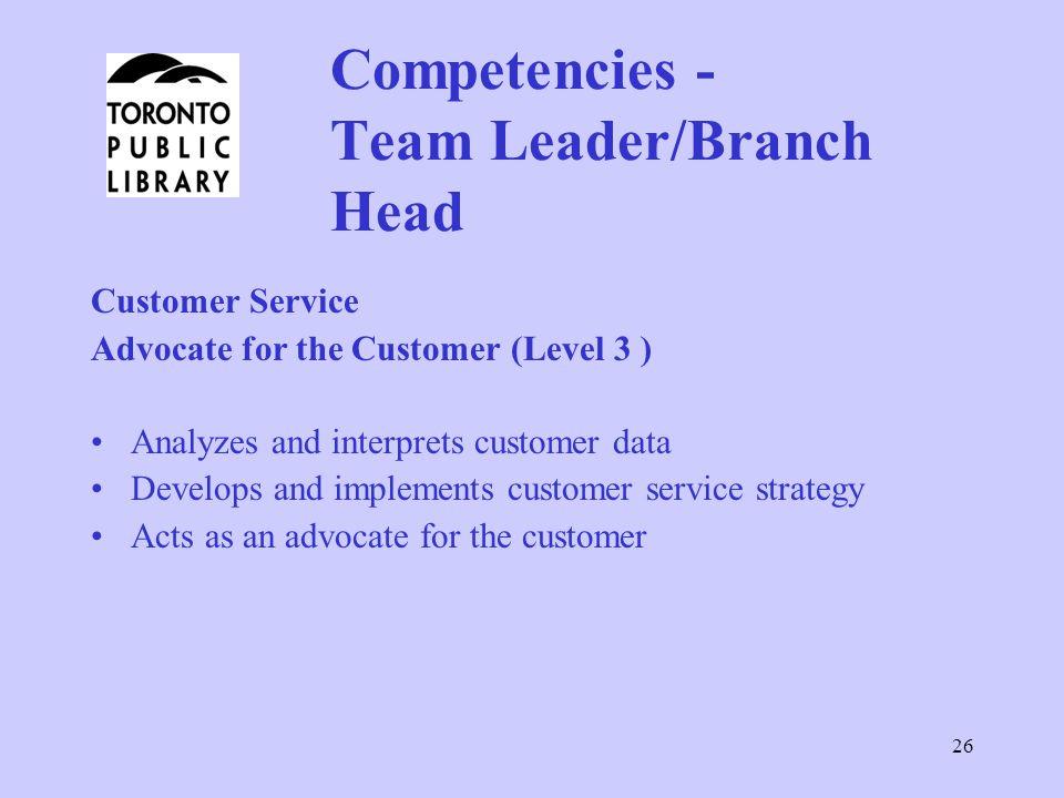 Competencies - Team Leader/Branch Head