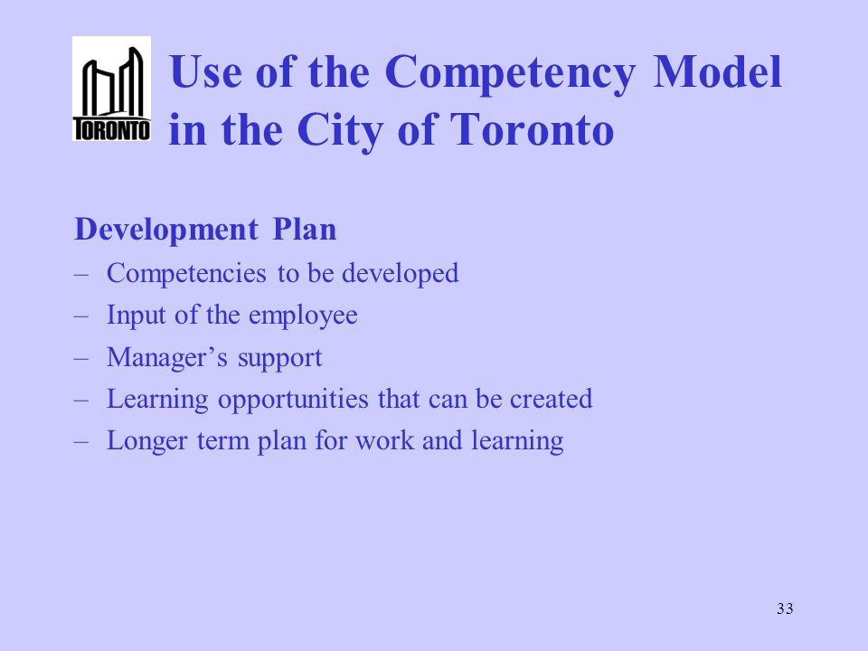 Use of the Competency Model in the City of Toronto