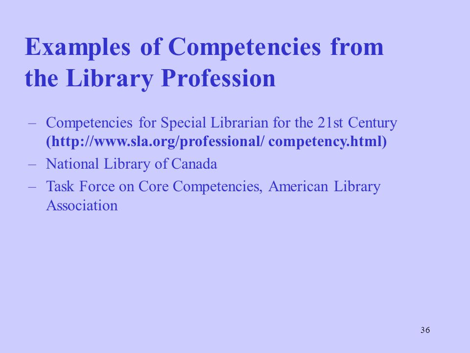 Examples of Competencies from the Library Profession