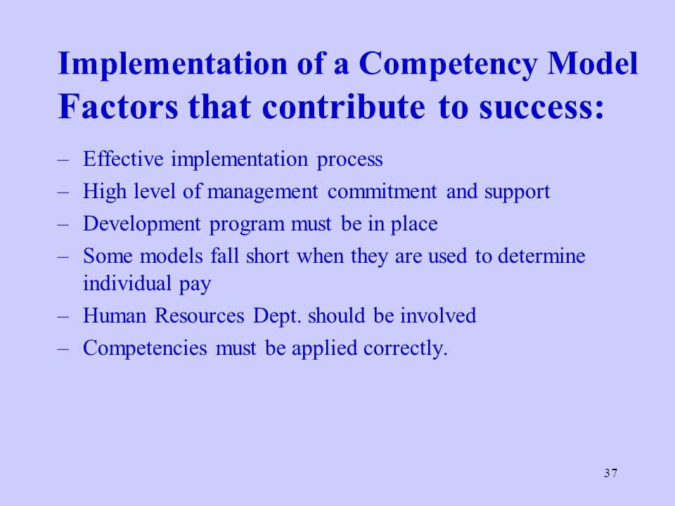 Implementation of a Competency Model Factors that contribute to success: