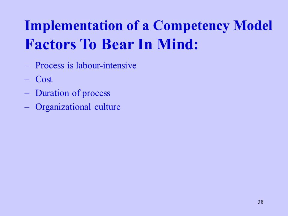 Implementation of a Competency Model Factors To Bear In Mind: