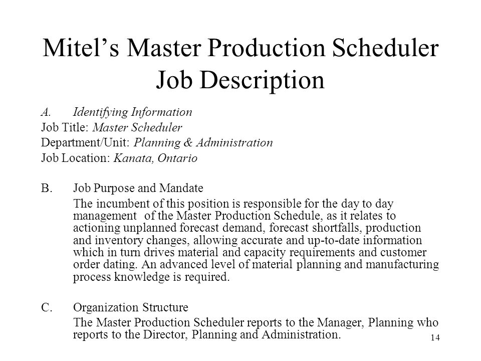 Session 8 Master Production Scheduling (Mps) – Managing The Mps
