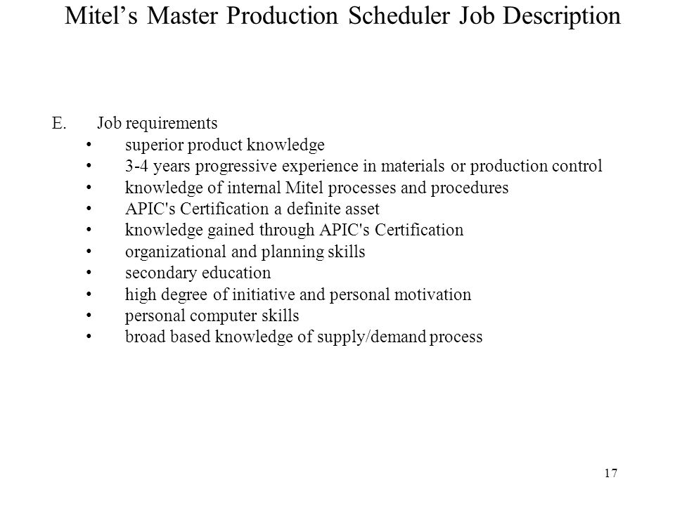 Production Scheduler Job Description | Template