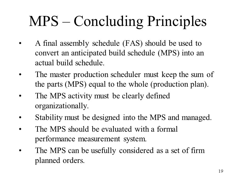 MPS – Concluding Principles