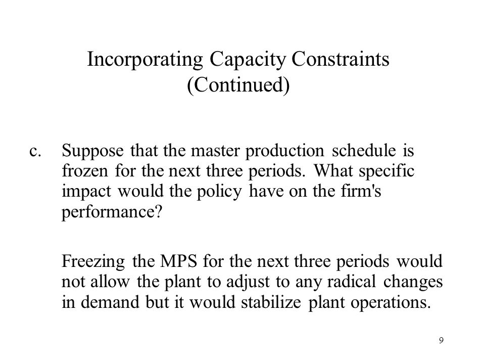 Incorporating Capacity Constraints (Continued)