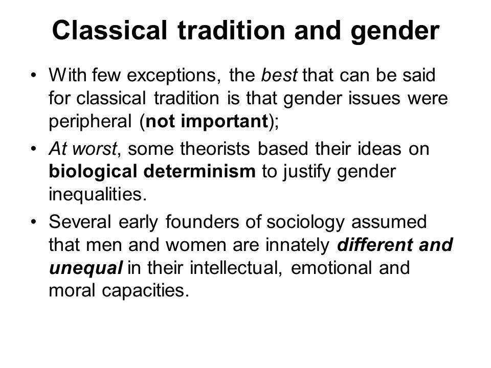 Classical tradition and gender