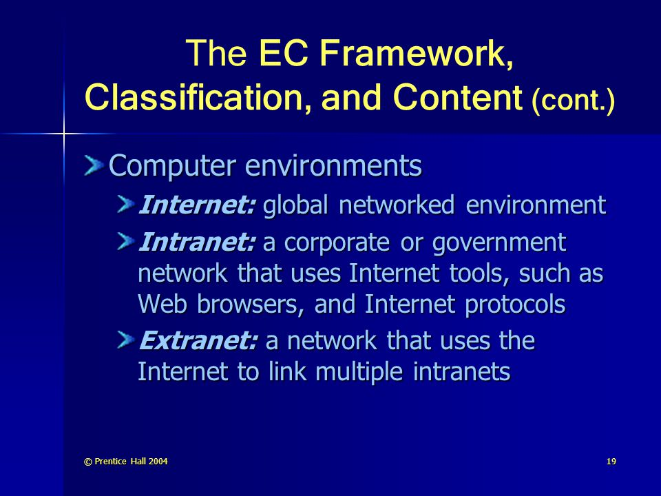 The EC Framework, Classification, and Content (cont.)