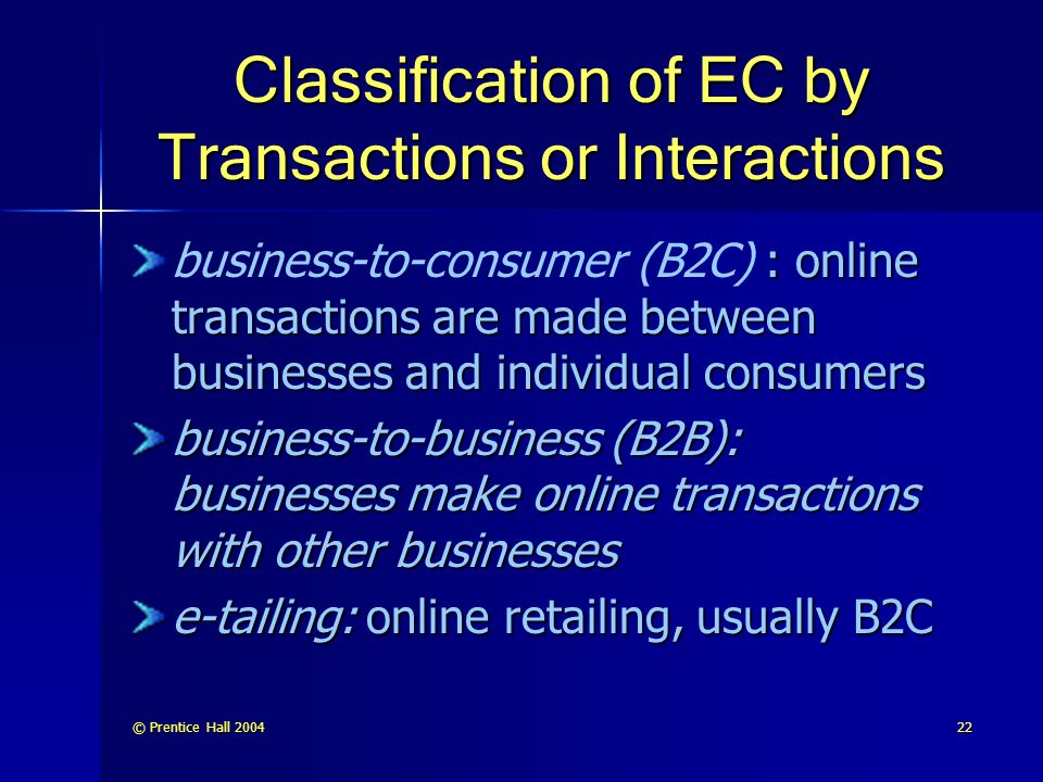 Classification of EC by Transactions or Interactions