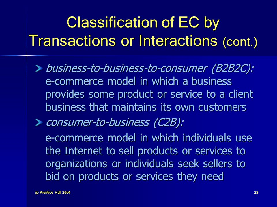 Classification of EC by Transactions or Interactions (cont.)