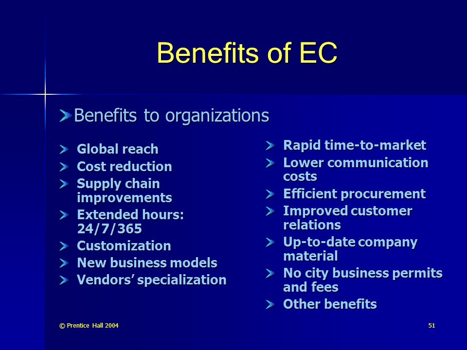 Benefits of EC Benefits to organizations Rapid time-to-market