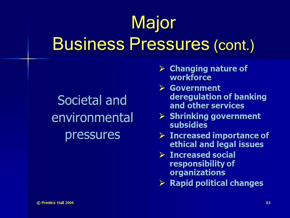 Major Business Pressures (cont.)