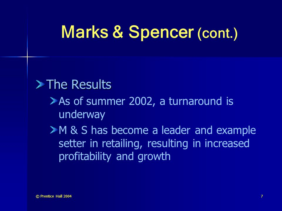 Marks & Spencer (cont.) The Results