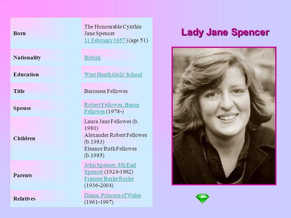 Born The Honourable Cynthia Jane Spencer 11 February 1957 ) (age 51) Nationality. British. Education.