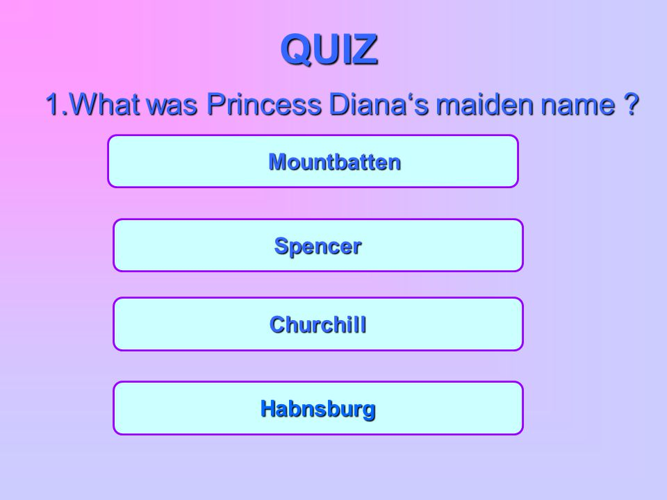 1.What was Princess Diana's maiden name