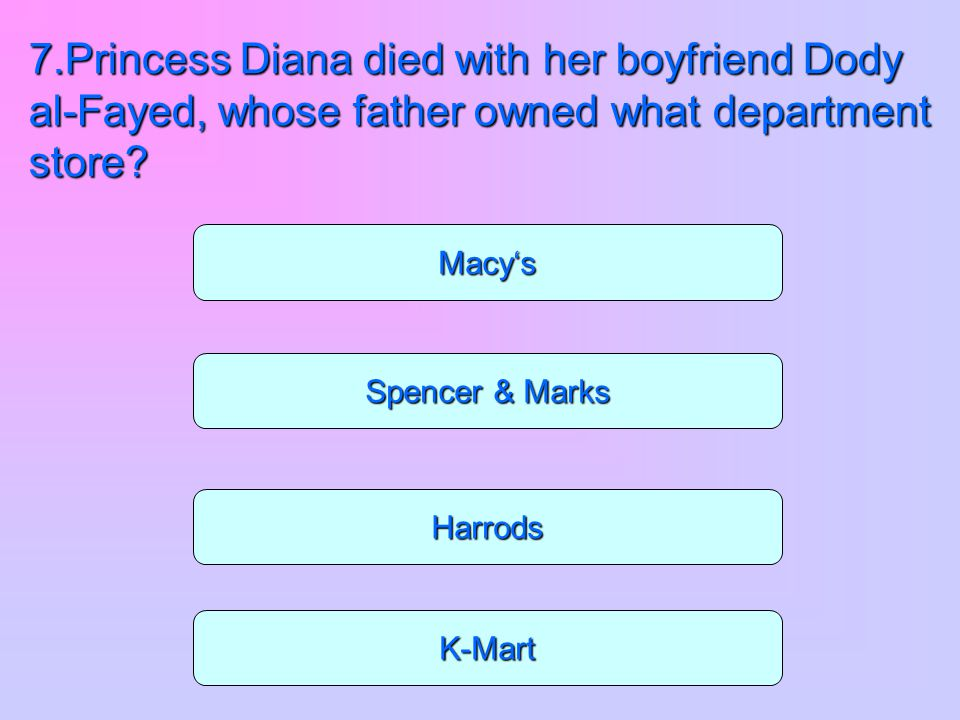 7.Princess Diana died with her boyfriend Dody al-Fayed, whose father owned what department store