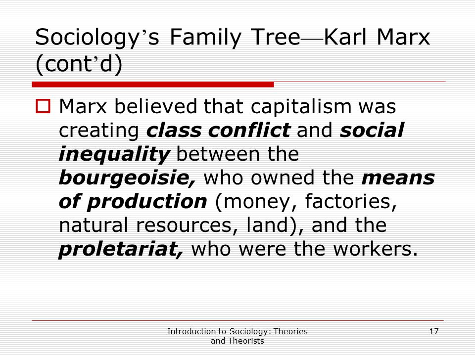Sociology's Family Tree—Karl Marx (cont'd)