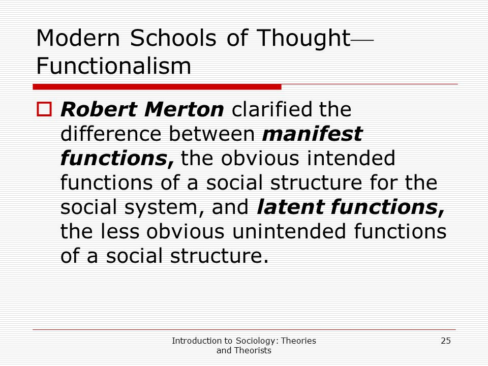 Modern Schools of Thought—Functionalism