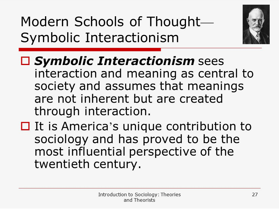 Modern Schools of Thought—Symbolic Interactionism