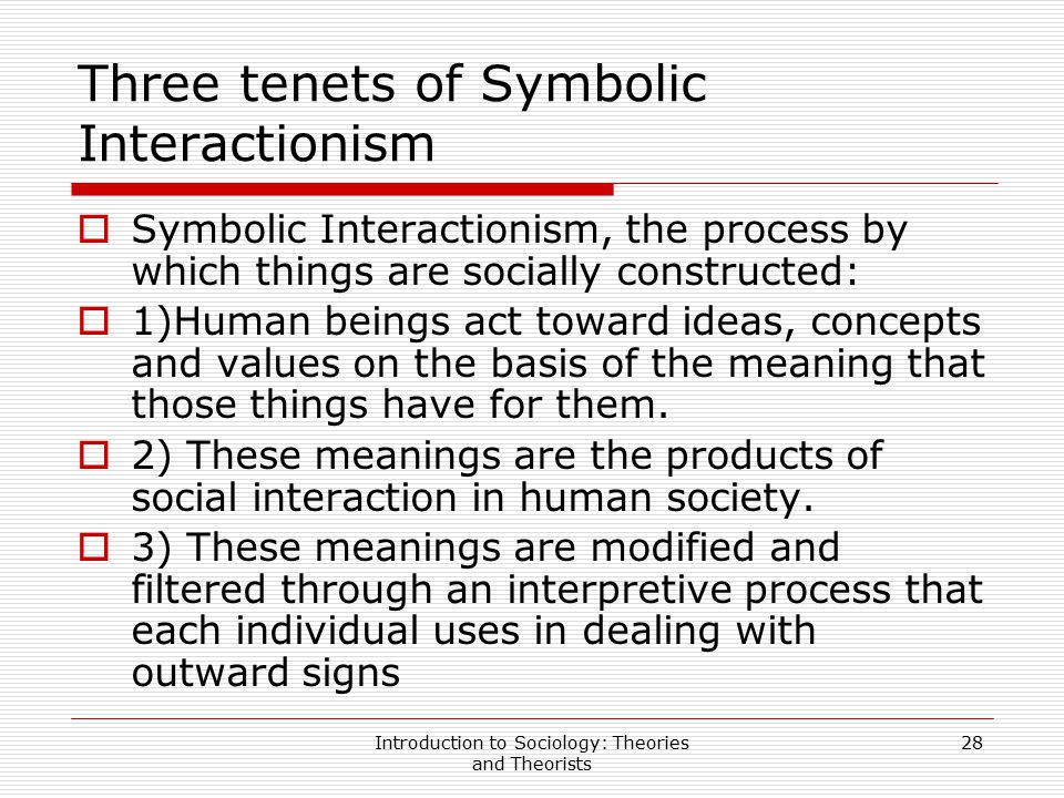 Three tenets of Symbolic Interactionism