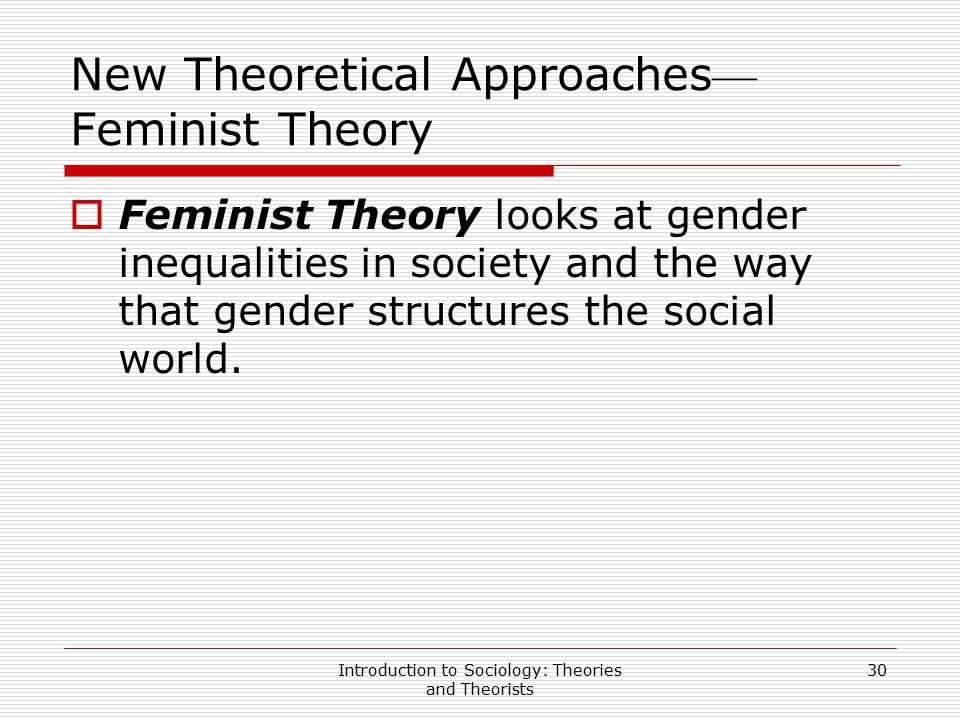 New Theoretical Approaches—Feminist Theory