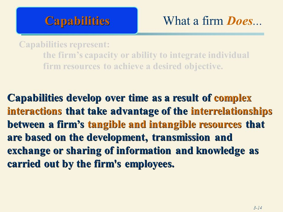 Capabilities What a firm Does...