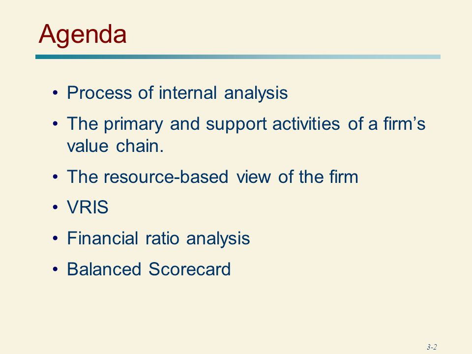 Agenda Process of internal analysis