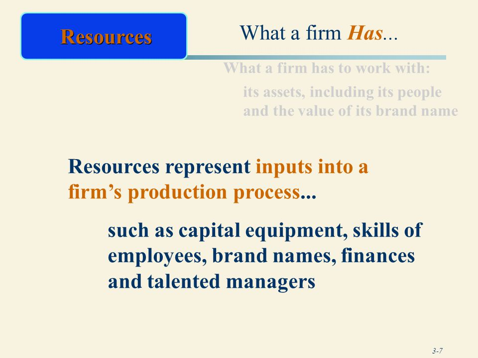 Resources represent inputs into a firm's production process...