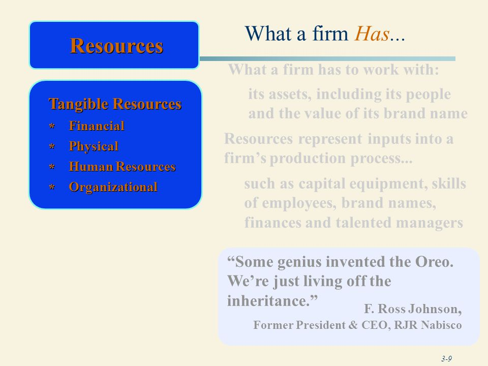 What a firm Has... Resources Resources What a firm has to work with: