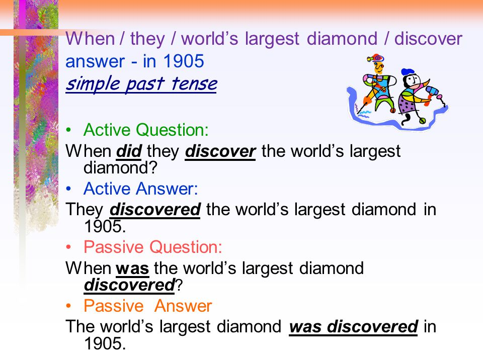 When / they / world's largest diamond / discover answer - in 1905 simple past tense